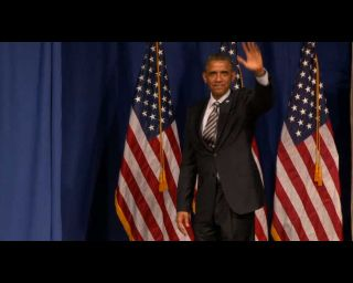 Barack Obama on Stage at National Academy of Sciences