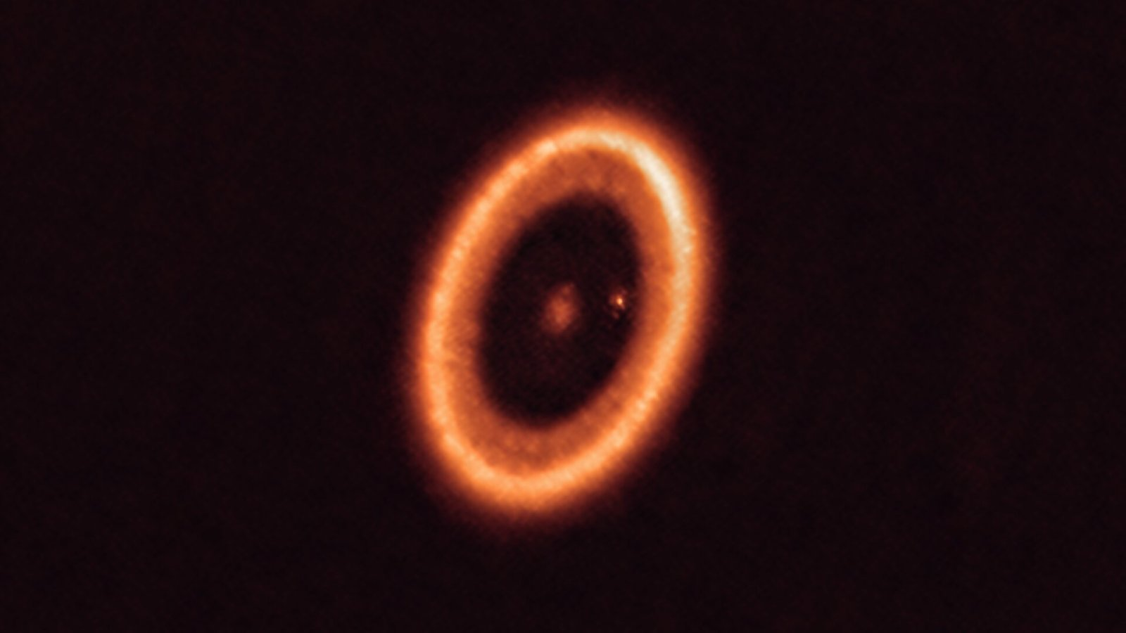 A solar system in the process of forming with a moon-forming disc around an exoplanet