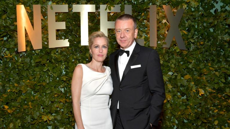 Gillian Anderson and Peter Morgan attend the Netflix 2020 Golden Globes After Party on January 05, 2020