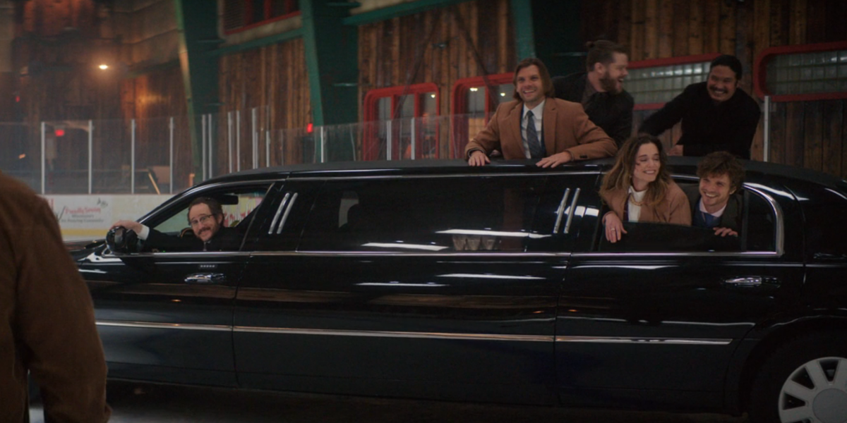 averman driving a limo onto the ice on mighty ducks game changers