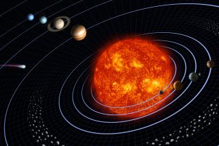 Artist's conception of Earth's solar system
