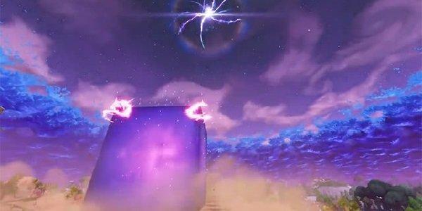 A massive purple cube lands in Fortnite.