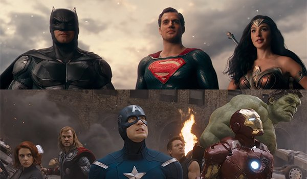 The Justice League and the Avengers