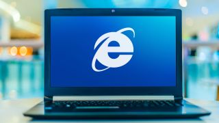 Internet Explorer logo on laptop