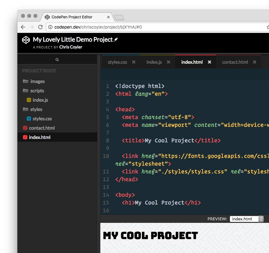 Code snippets in the Codepen editor