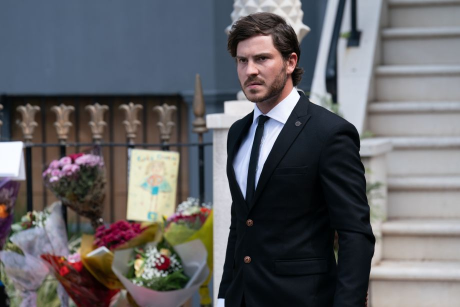 Gray is struggling at Chantelle's funeral in EastEnders