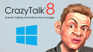 A 3D picture of a man next to the Crazy Talk 8 and Windows logos.