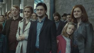 "Ron (Rupert Grint), Hermione (Emma Watson), Harry (Daniel Radcliffe) and Ginny (Bonnie Wright) gather at platform 9 and 3/4 to send the next generation of witches and wizards to Hogwarts, in ""The Deathly Hallows: Part 2"" (Warner Bros. Pictures, 2011)."
