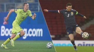 Scotland vs Czech Republic — Andy Robertson of Scotland (right) and Thomas Soucek of Czech Republic (left)