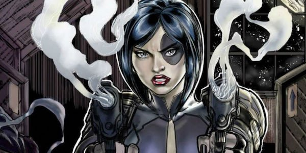 Domino carying a gun marvel comics