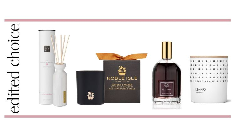The best home fragrance graphic –Rituals reed diffuser, Noble Isle candle, Dr Vranjes room spray and Skandinavisk candle