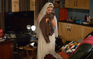Lauren catches Abi wearing her wedding dress. Abi Branning in Eastenders.