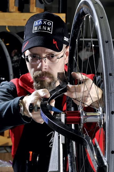 Nic James wheel building at Zipp