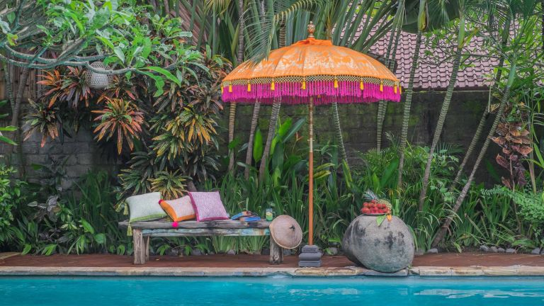 tropical garden ideas with etta parasol from east london parasol company next to swimming pool