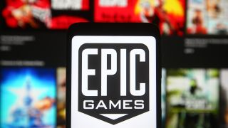 Epic Games logo behind the Epic Games Store