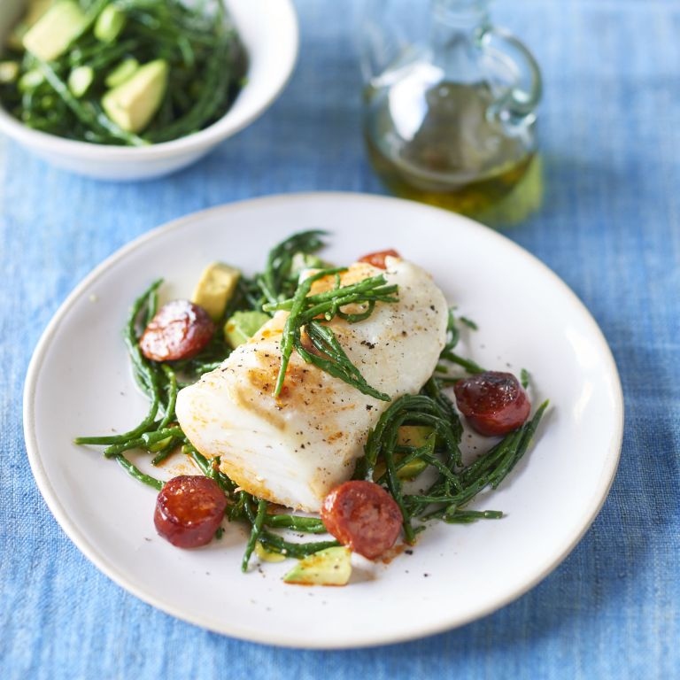 Roasted Cod with Chorizo and Samphire Salad