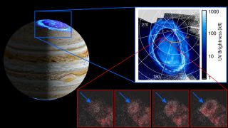 Data from NASA's Juno spacecraft revealed faint aurora features likely triggered by charged particles coming from the edge of Jupiter's massive magnetosphere.