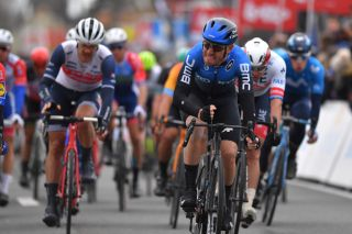NTT Pro Cycling's Giacomo Nizzolo bangs his handlebars in frustration after only being able to manage second place at the 2020 Kuurne-Brussel-Kuurne