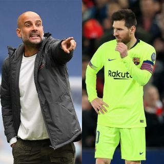 Pep Guardiola and Lionell Messi