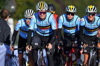 (LtoR) Kim De Baat, Lotte Kopecky, Jesse Vandenbulcke and Valerie Demey training on Flandrien roads for World Championship