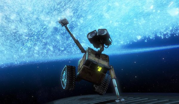 Wall-E stirs the stars while holding onto the spaceship