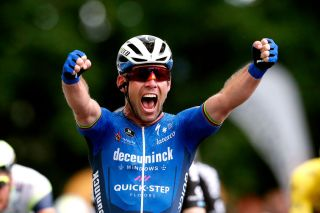 FOUGERES FRANCE JUNE 29 Mark Cavendish of The United Kingdom and Team Deceuninck QuickStep stage winner celebrates at arrival during the 108th Tour de France 2021 Stage 4 a 1504km stage from Redon to Fougres LeTour TDF2021 on June 29 2021 in Fougeres France Photo by Guillaume Horcajuelo PoolGetty Images