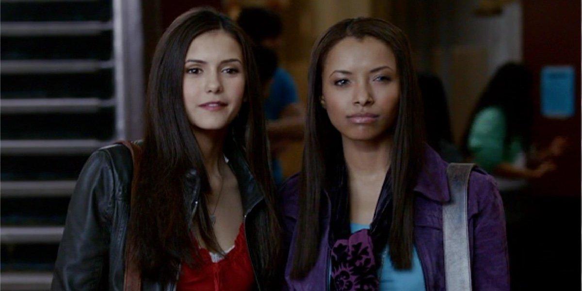 Nina Dobrev as Elena Gilbert and Kat Graham as Bonnie Bennett in The Vampire Diaries.