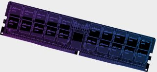 Micron DDR5 modules on a stick of RAM with blue PCB (render)