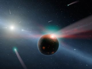 This artist's conception illustrates a storm of comets around a star near our own, called Eta Corvi. Evidence for this barrage comes from NASA's Spitzer Space Telescope, whose infrared detectors picked up indications that one or more comets was recently t