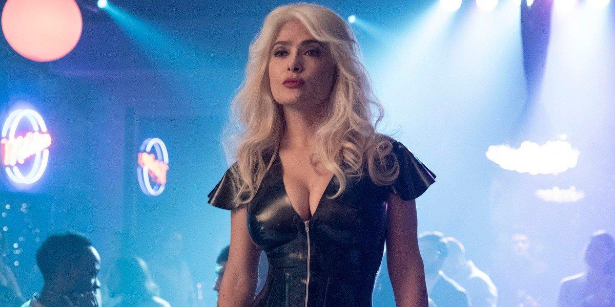 Sofia (Salma Hayek) wears a blonde wig in a nightclub in 'The Hitman's Wife's Bodyguard'