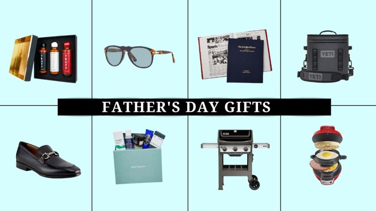 Best Father's Day gifts: Collage image of great gifts from Persol, Yeti, and more