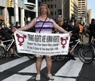 Transgender protestor in Ontario