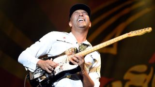 Tom Morello of Prophets Of Rage performs at Champions Park on October 1, 2017 in Louisville, Kentucky.