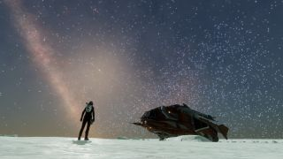 A pilot and a starship on an icy word, under billions of stars
