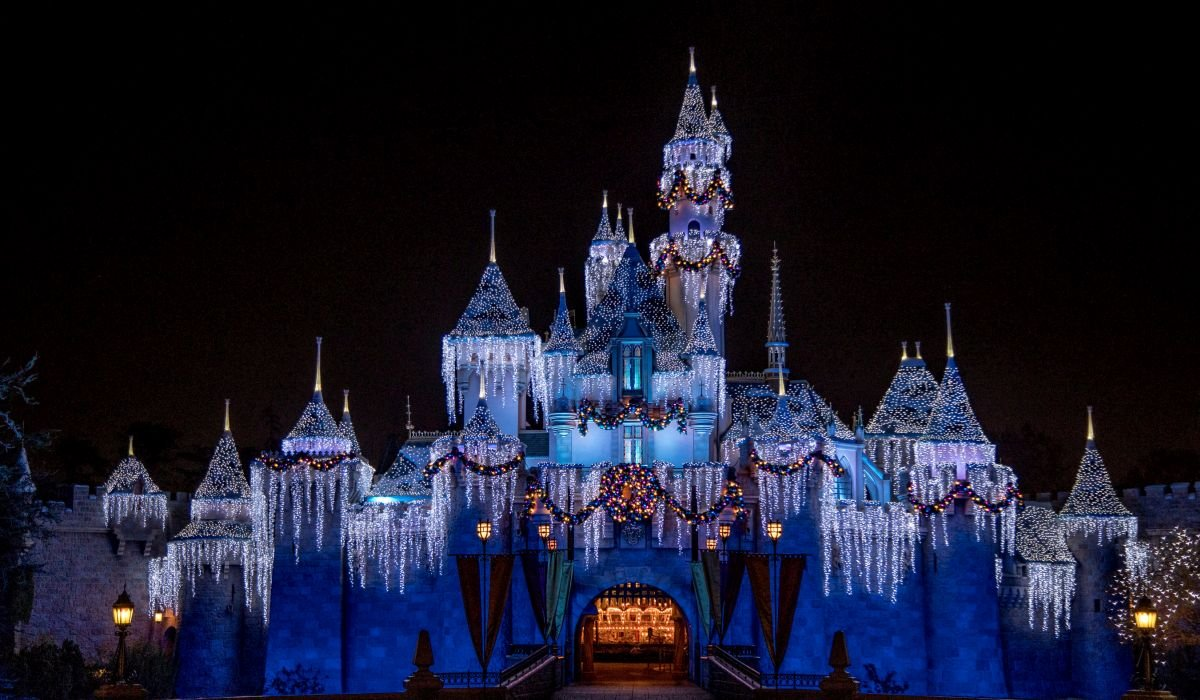 Sleeping Beauty Castle dressed up for the holidays