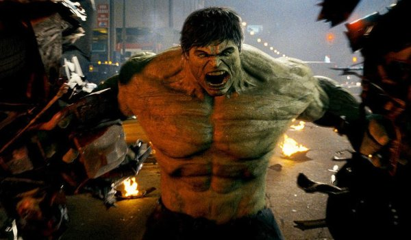 The Incredible Hulk holds two halves of a car in Harlem