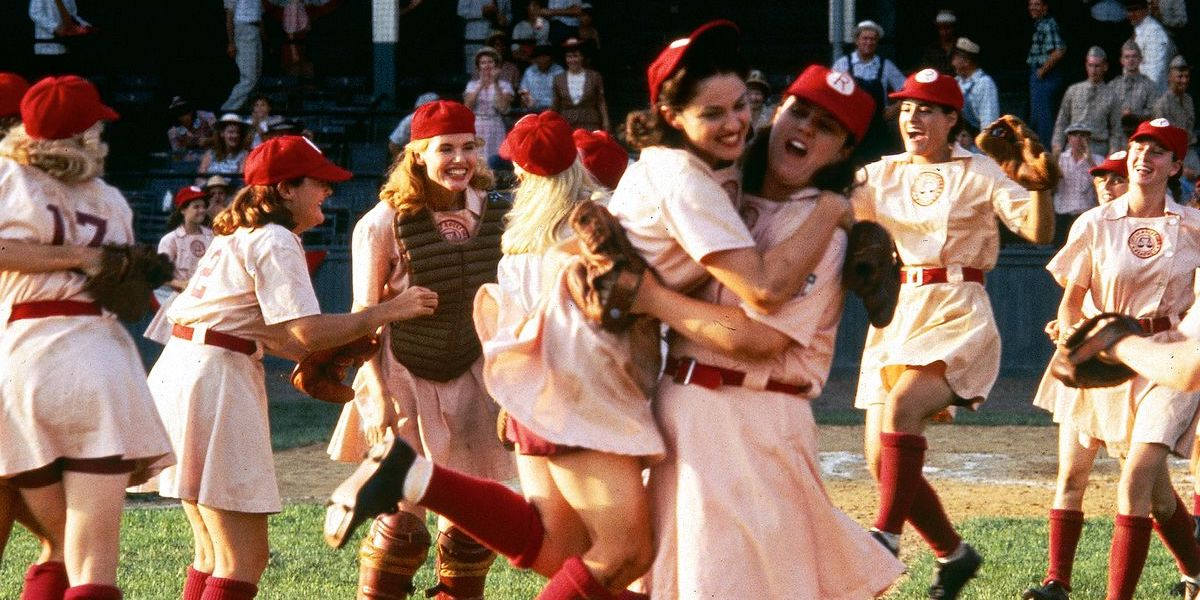A League of Their Own women celebrating the baseball team's win