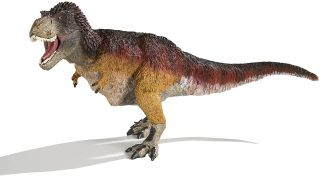 Giant feathered T. rex model.