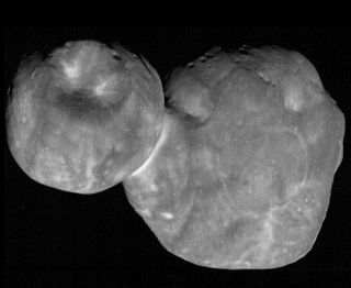 This is the most detailed view of the distant object Ultima Thule. The photo is a processed composite combining nine individual images taken by NASA's New Horizons spacecraft just 6.5 minutes before the spacecraft's closest approach to Ultima Thule on Jan