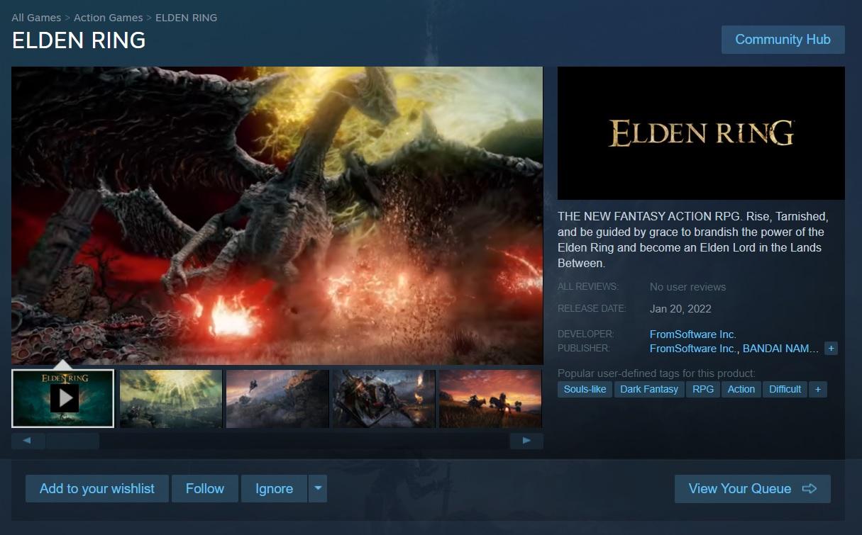 Elden Ring appears on Steam   PC Gamer