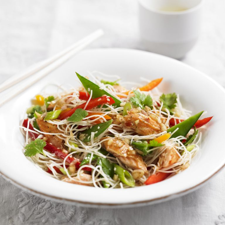 Rice Noodle salad with hot smoked Salmon recipe-recipes-recipe ideas-new recipes-woman and home