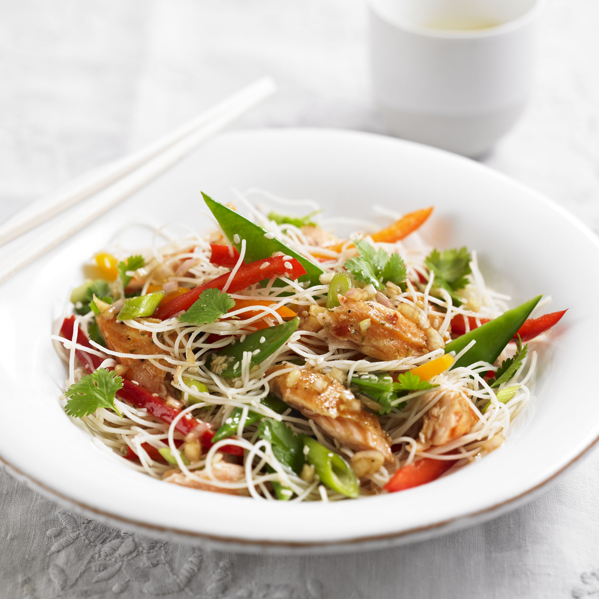Rice Noodle Salad With Hot Smoked Salmon | Dinner Recipes ...