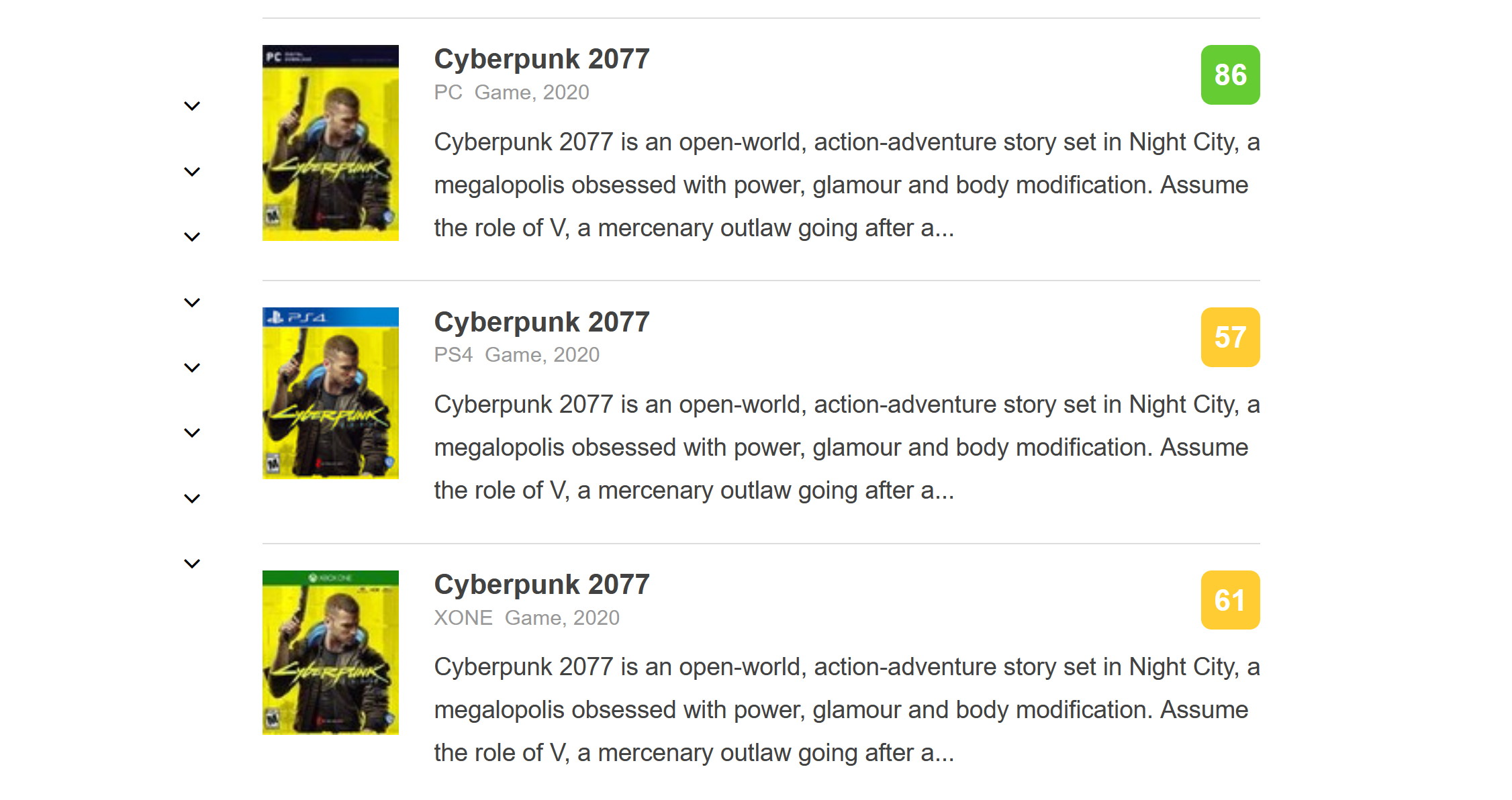 Cyberpunk 2077 Metacritic scores