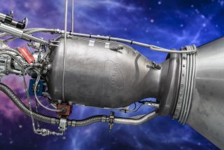 The recently unveiled 3D-printed engine for the second stage of Orbex's Prime rocket.