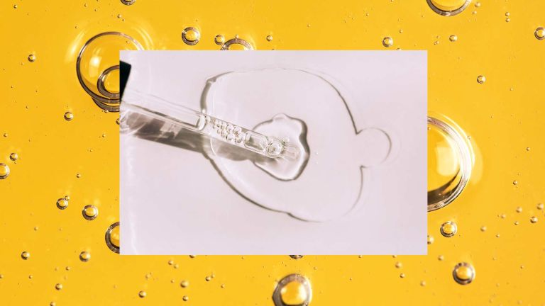 Close up image in yellow of vitamin C serums overlayed with a graphic shot of a pipette with vitamin c serum