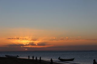Fishermen at sunset in Mozambique, sustainable fishing