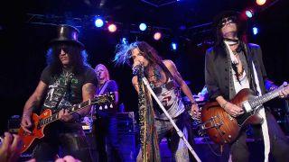 Slash onstage with Aerosmith