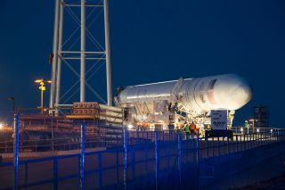 Antares rocket roll-out.