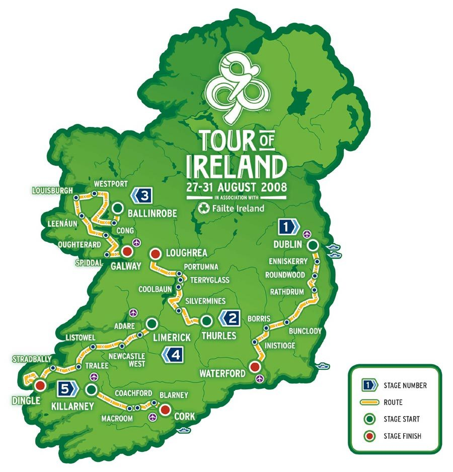2008 tour of ireland route revealed cycling weekly
