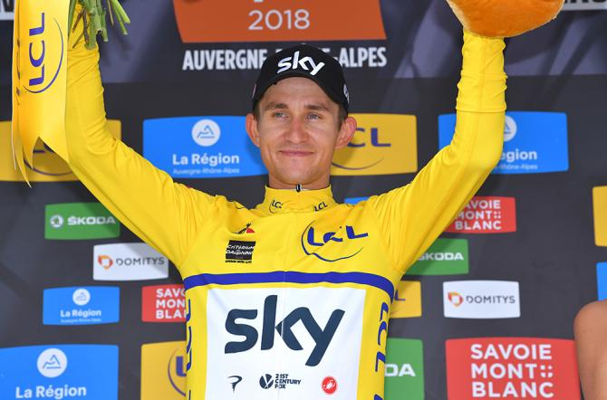 Michal Kwiatkowski (Team Sky) moves back into the yellow jersey after winning the team time trial at the Criterium du Dauphine